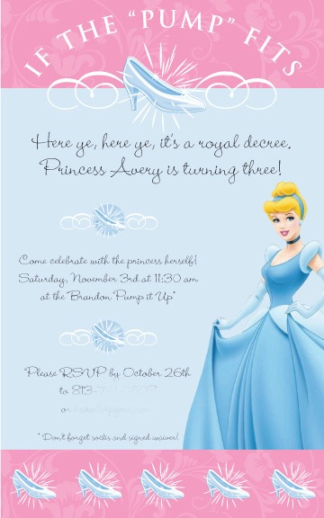 Cinderella Birthday Invitation | missfrugalfancypants.com
