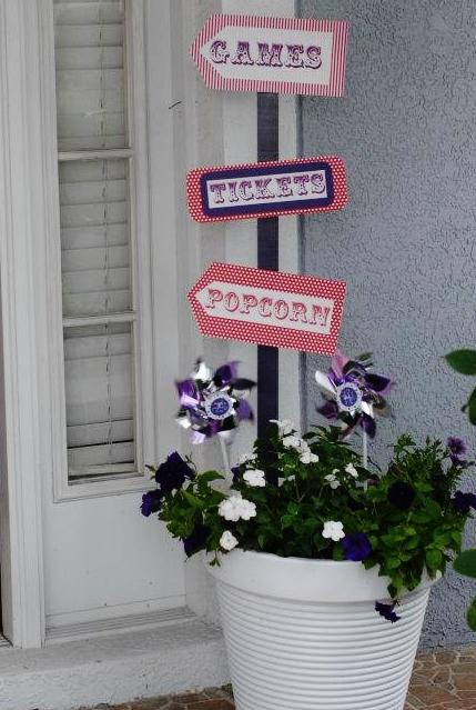 Purple Polka Dot Carnival Birthday Party Decor| missfrugalfancypants.com