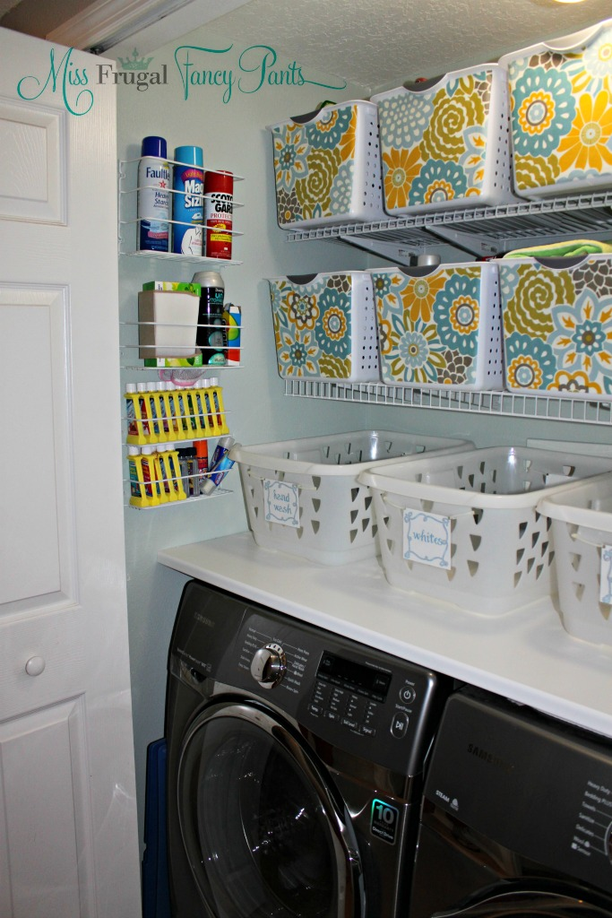 Affordable Small Space Laundry Closet with Tons of Storage & DIY Baskets| missfrugalfancypants.com