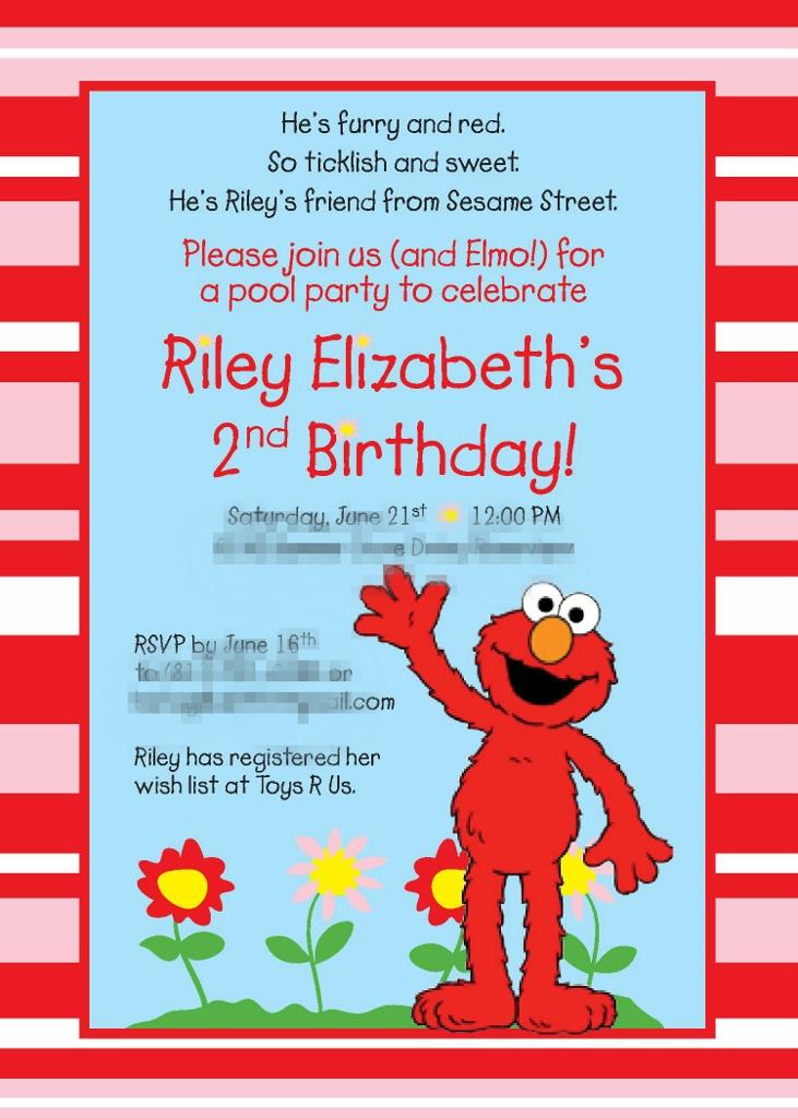 Pink & Red Elmo Birthday Party Invitation| missfrugalfancypants.com