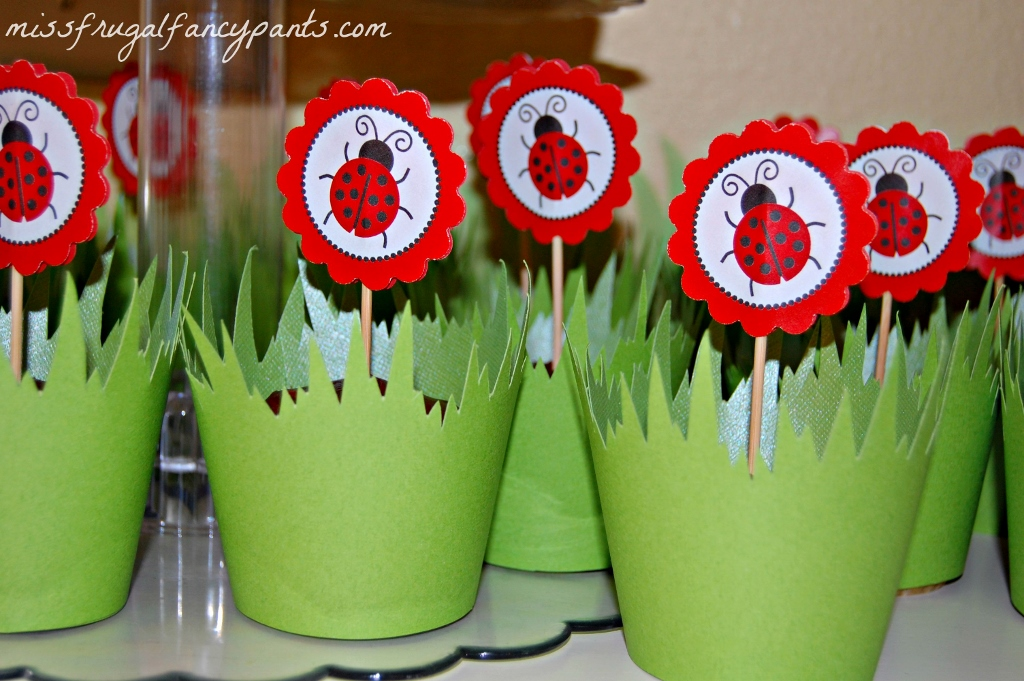 Outdoor Ladybug Garden Party Cupcake Wrappers| missfrugalfancypants.com