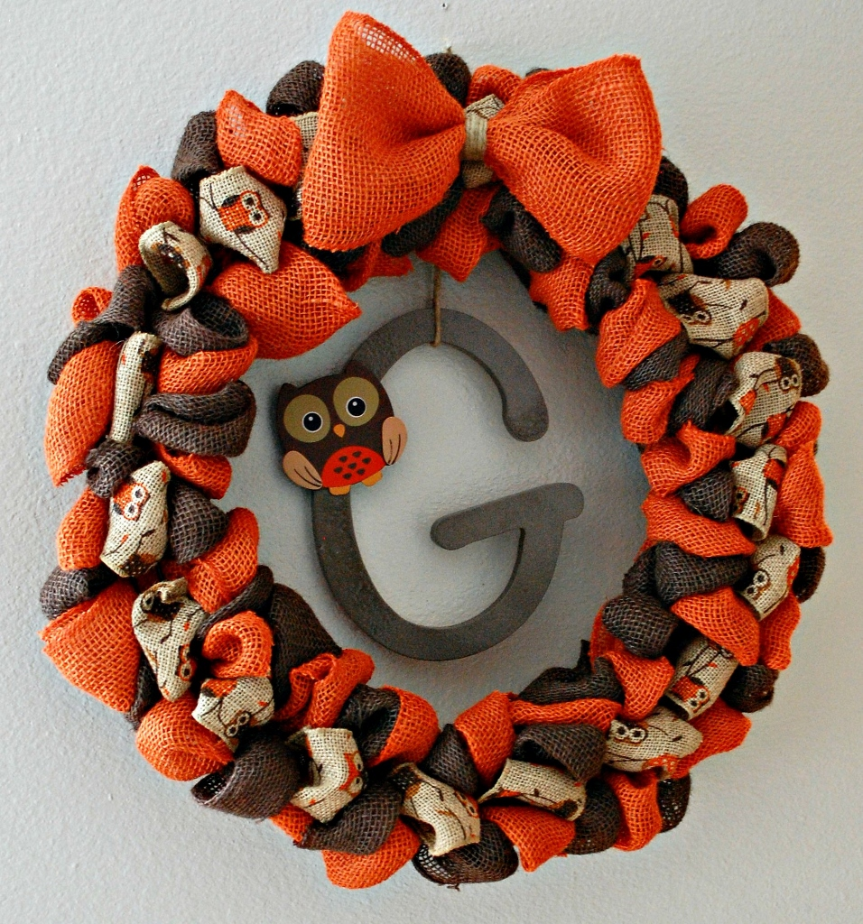 Burlap Fall Wreath with Owls