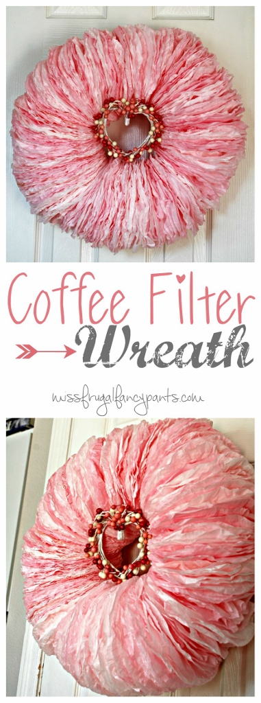 DIY Coffee Filter Wreath for Valentine's Day | missfrugalfancypants.com