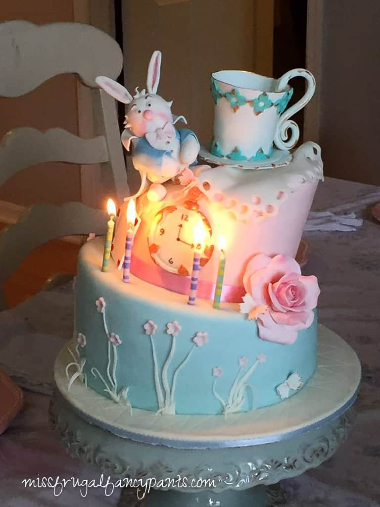 Vintage Shabby Chic Mad Hatter Tea Party Cake| missfrugalfancypants.com