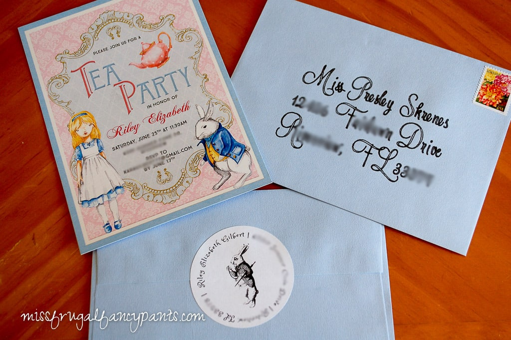 Vintage Shabby Chic Mad Hatter Tea Party Invitation | missfrugalfancypants.com
