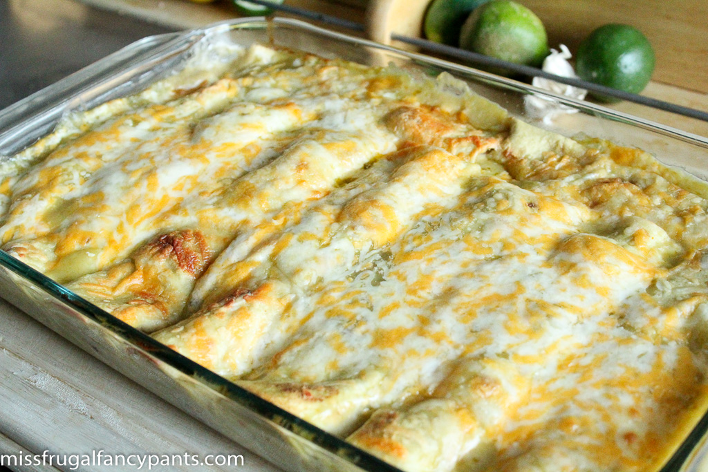 Black Bean & Chicken Enchiladas with Roasted Poblano Peppers and Corn | Recipes from Co-Op Produce | missfrugalfancypants.com