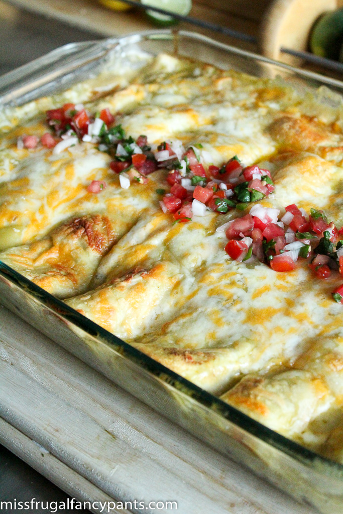 Black Bean & Chicken Enchiladas with Roasted Poblano Peppers and Corn   Recipes from Co-Op Produce   missfrugalfancypants.com