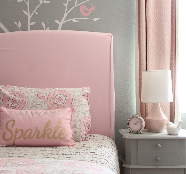 Pink & Gray Girl's Room with Ikea Hemnes Hack