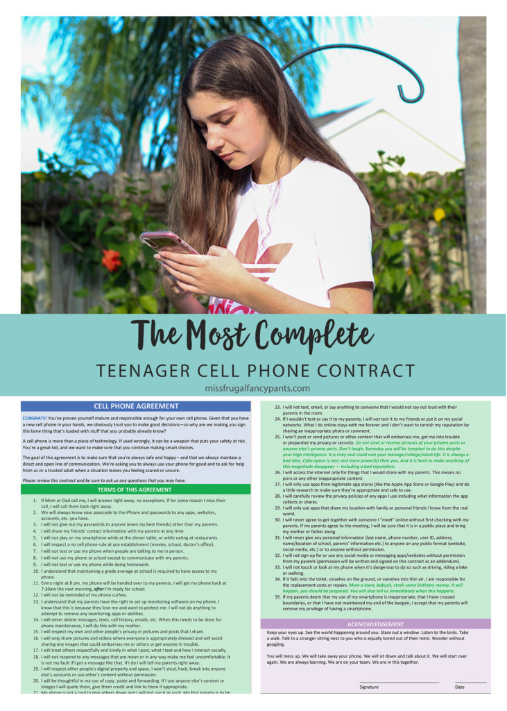 Cell Phone Contract for Teen | missfrugalfancypants.com