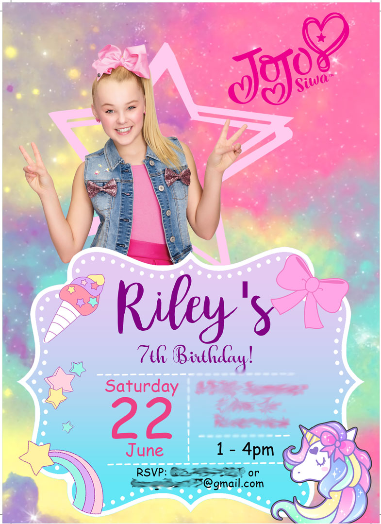JoJo Siwa Birthday Party - Unicorns and Rainbows - Invitation